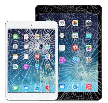 iPad with cracked glass.