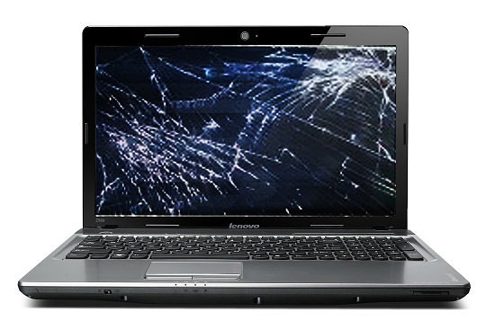 laptop with cracked screen